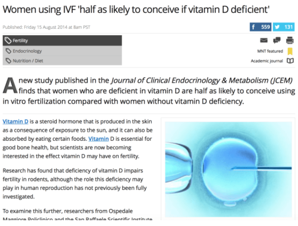 Vitamin D Improves IVF Success Rate