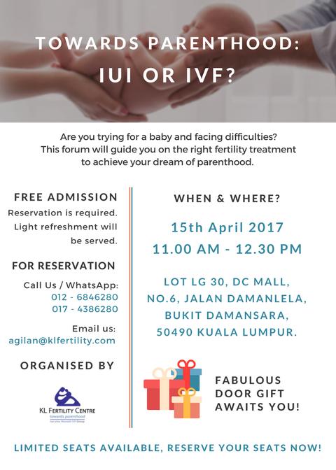 "Fertility Forum : Towards Parenthood: IUI or IVF ?"""