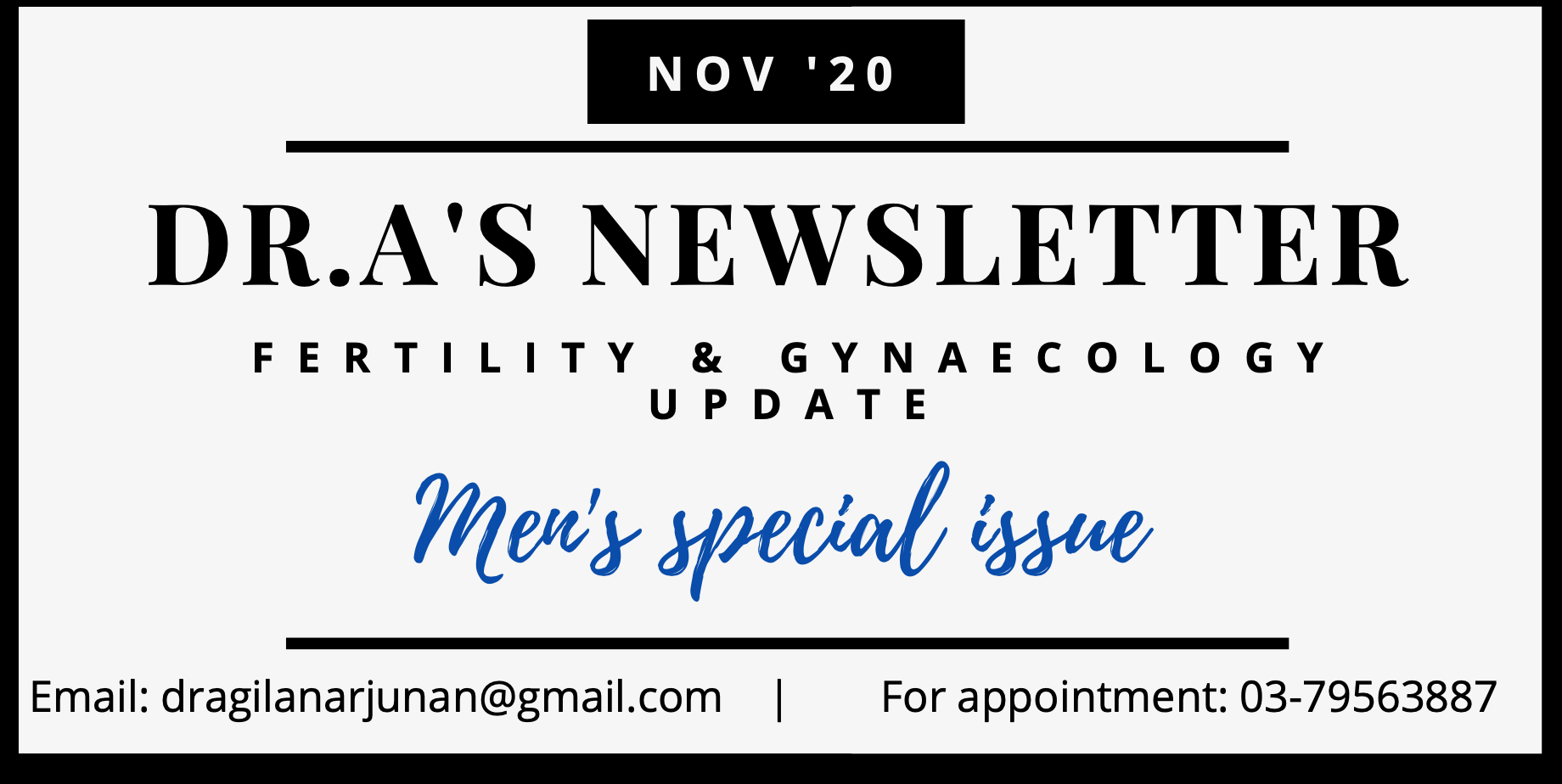 DR.A's Newsletter : Men's Special Issue